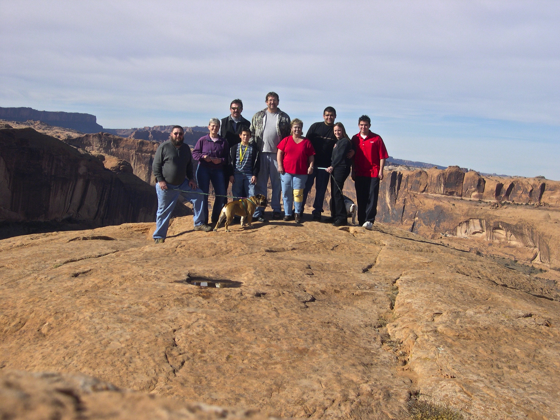 Conk family and friends on trail in Moab, Utah, USA