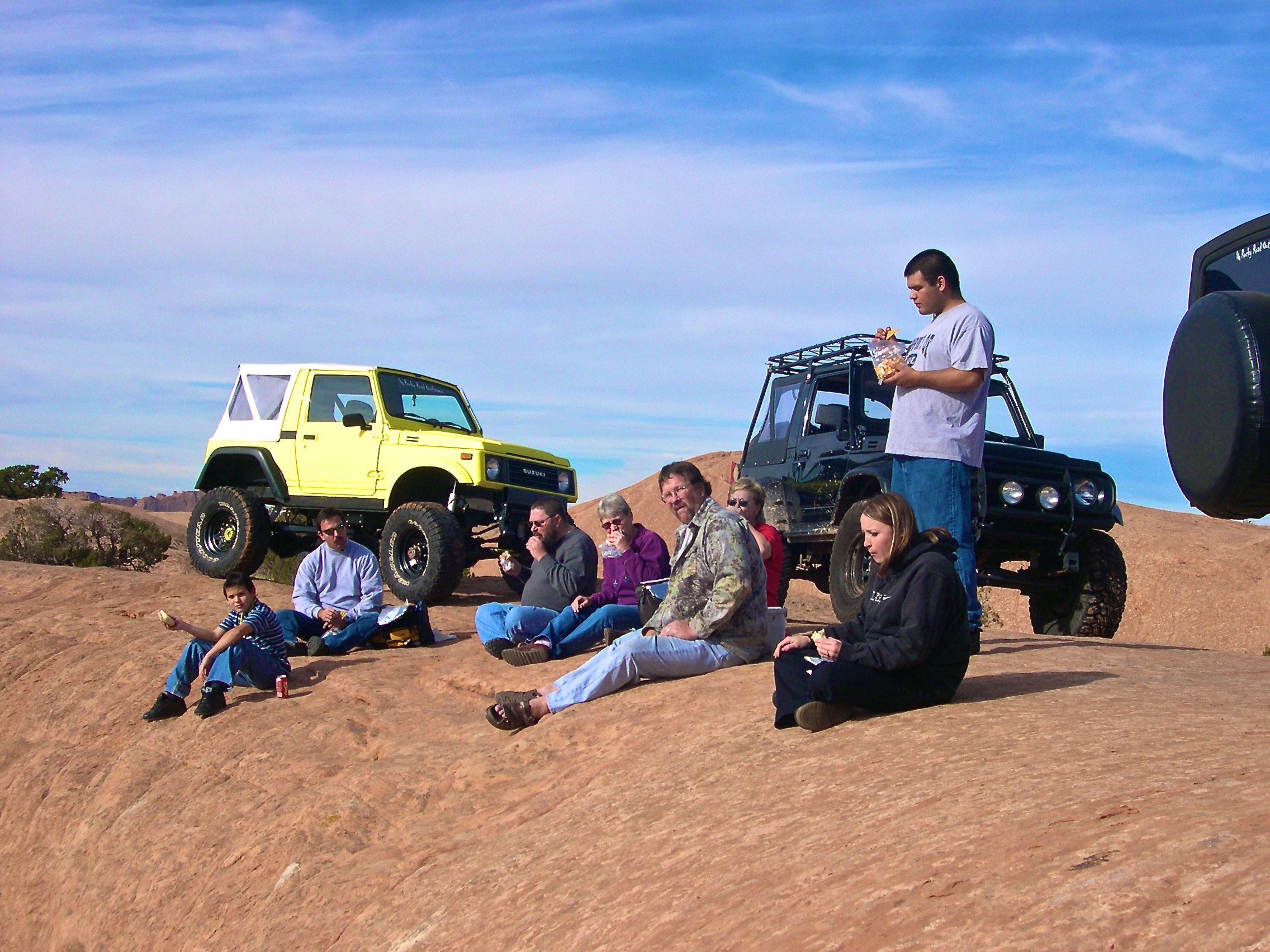 Conk Family and Friends on Lunch Break in Moab, Utah, USA