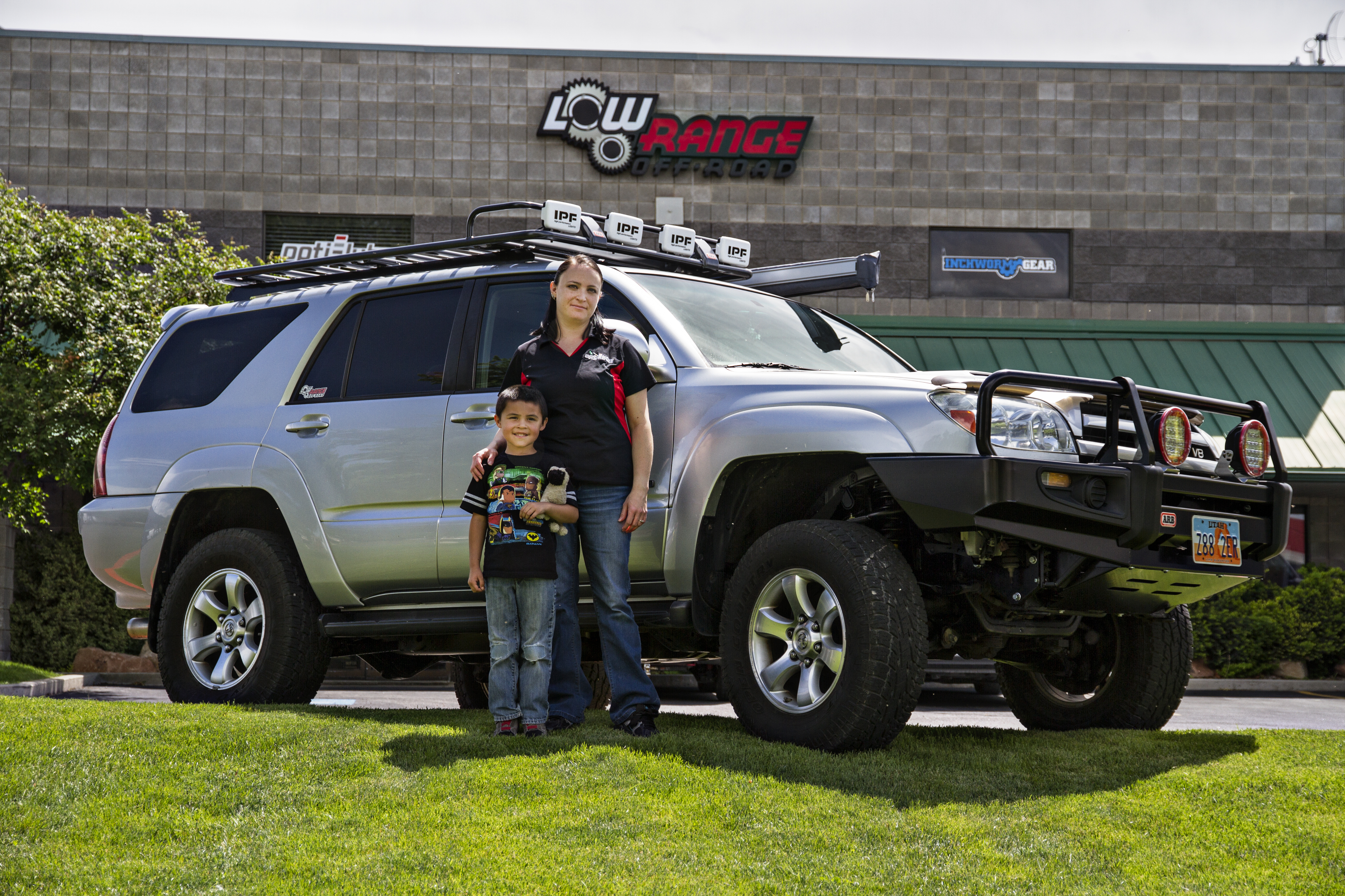 Maria Conk and son Gavin in front of Maria's 04 4Runner