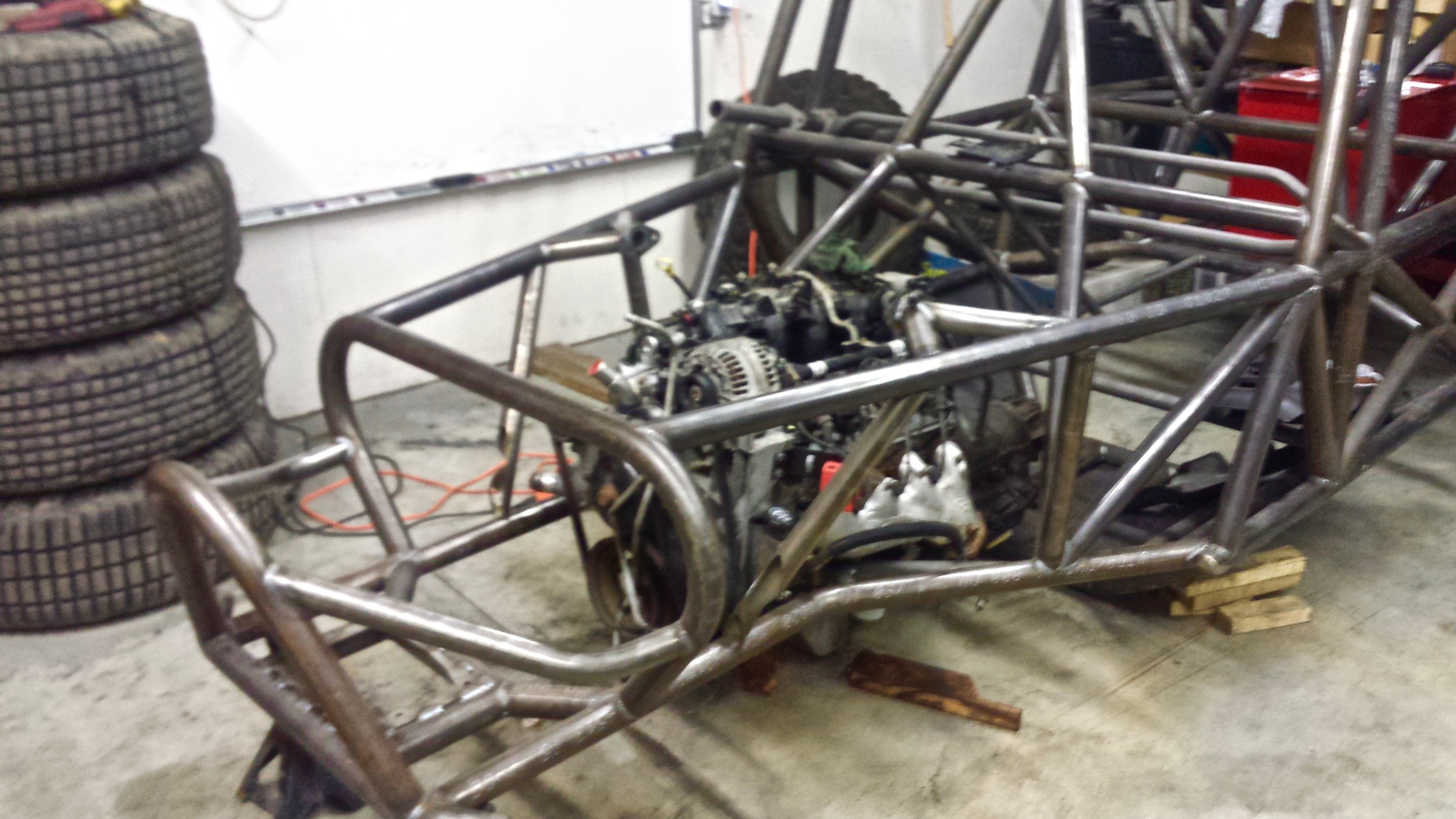 Nick Schaefer's buggy frame with 6.0L V-8 Cadillac Engine at his shop in Pleasant Grove, Utah